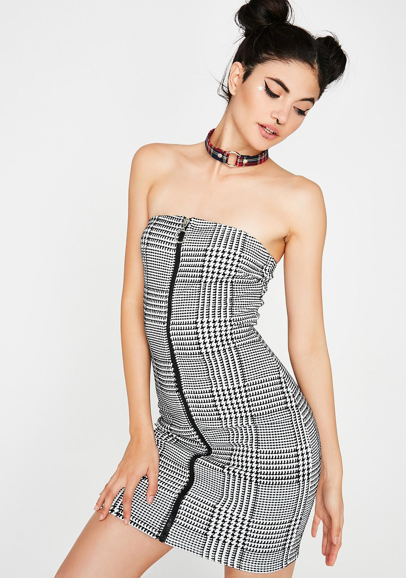 7dcee42839 Gone Mod Mini Dress they ve gone mad over you babe! This dope strapless  dress has a retro houndstooth pattern and a zip-up front closure.