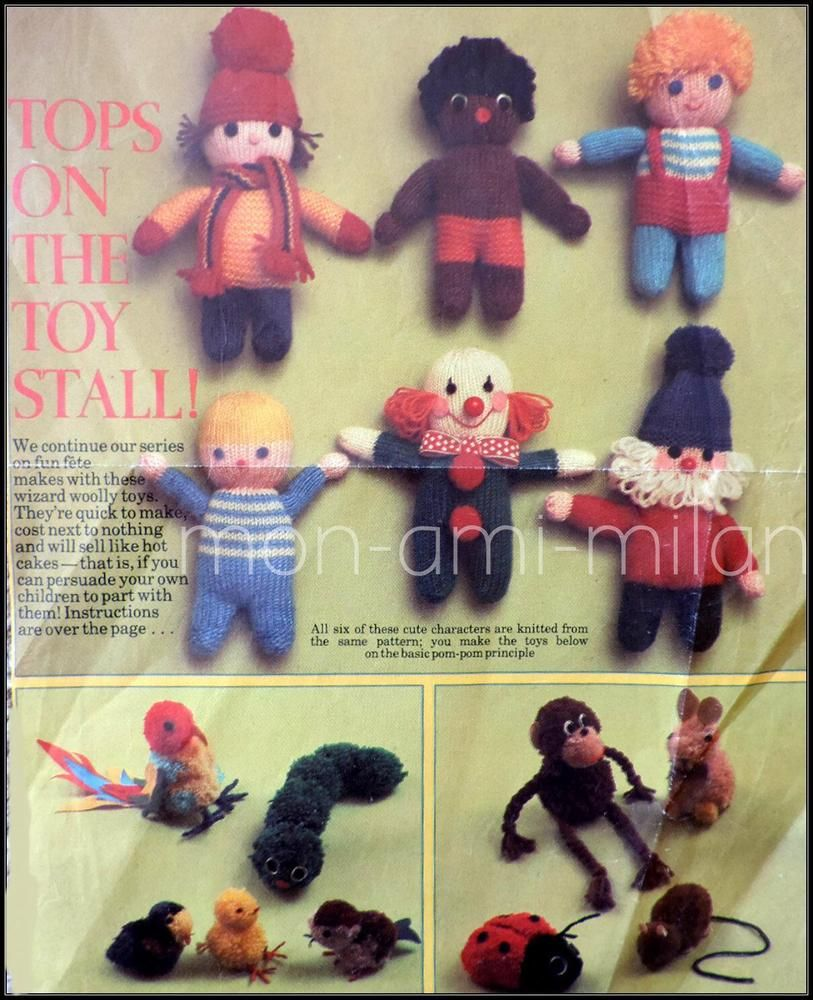 Vintage Knitting Pattern • DOLLS & POMPOM PETS Toys • Clown Gnome ...