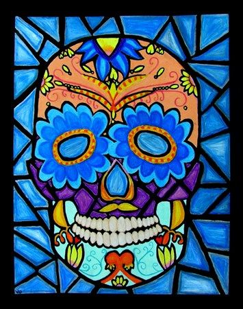 Day Of The Dead Inspired Oil Pastel W Black Watercolor