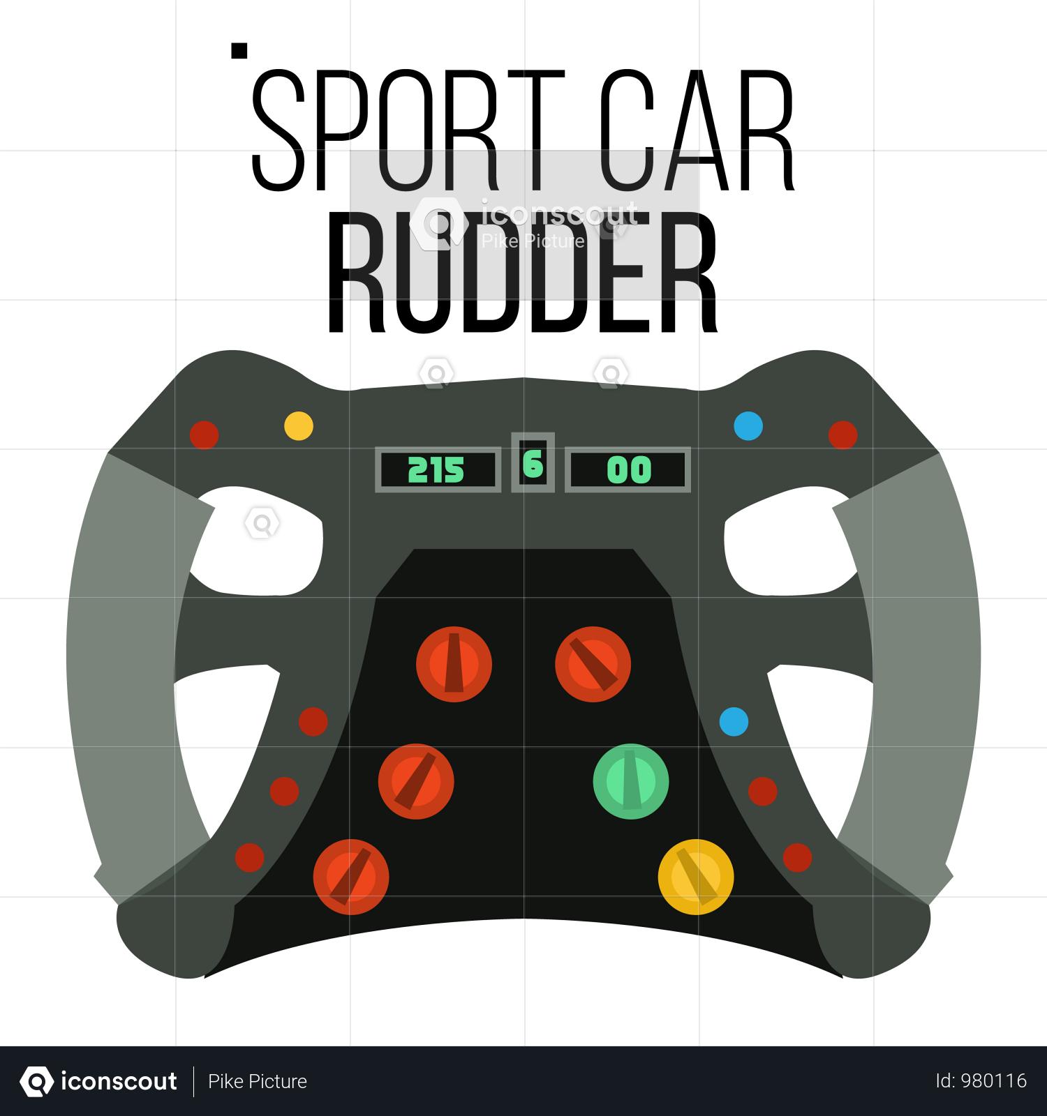 Premium Sport Car Steering Wheel Illustration Download In
