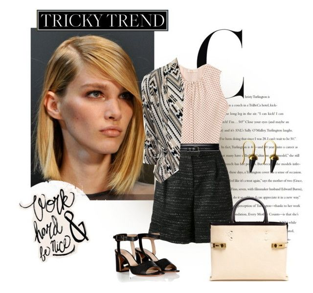 """""""Tricky Trend: Summer Office"""" by grapecrush ❤ liked on Polyvore featuring Tory Burch, Giambattista Valli, Theory, Chloé, Joanique and shortsuit"""