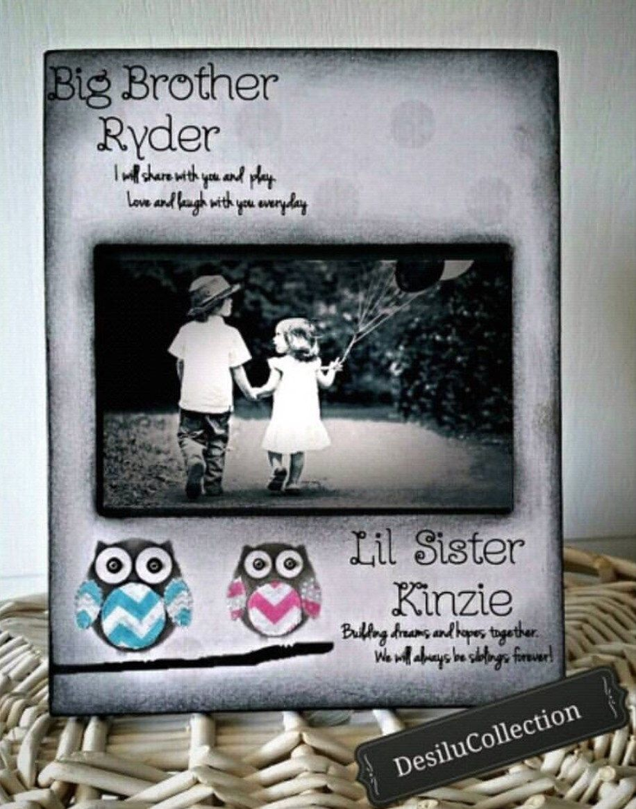 Owl Big Sister Little Brother Sibling Chevron rainbow personalize ...