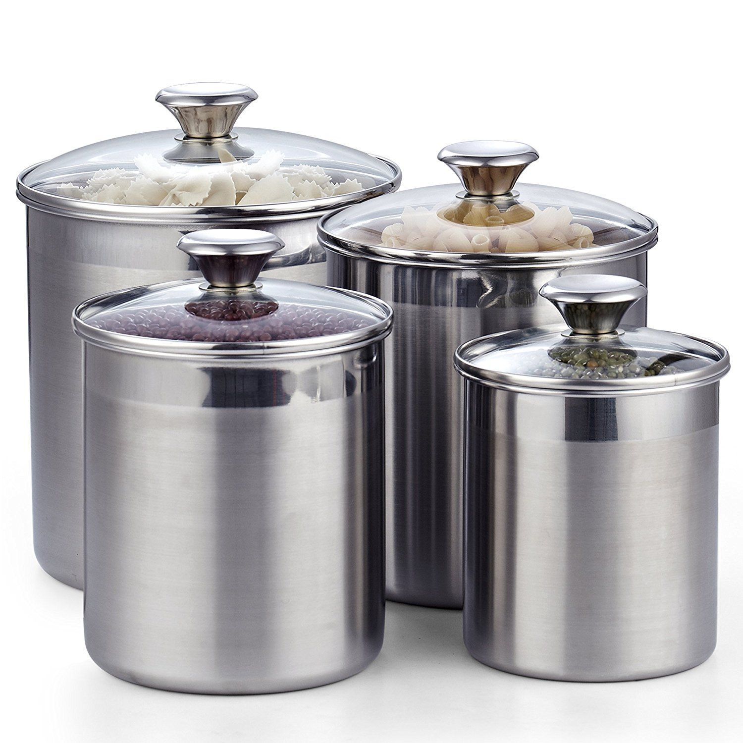 Cooks Standard 4 Piece Stainless Steel Canister Set Walmart Com In 2021 Stainless Steel Canister Set Stainless Steel Canisters Canister Sets Stainless steel kitchen canister sets