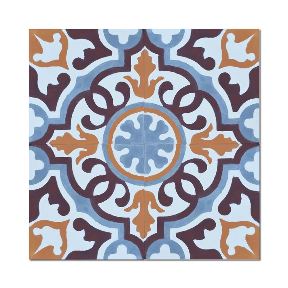 Baha Handmade Pack of 12 8x8-inch Cement and Granite Moroccan Tile ...