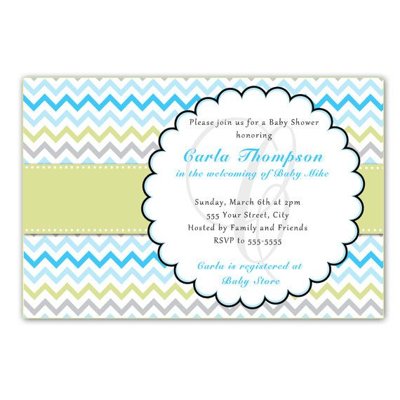 Turquoise chevron baby shower invitation card pastel colors zigzag printable personalized chevron zigzag lines birthday party baby shower invitation card printing available zig zag stopboris Choice Image