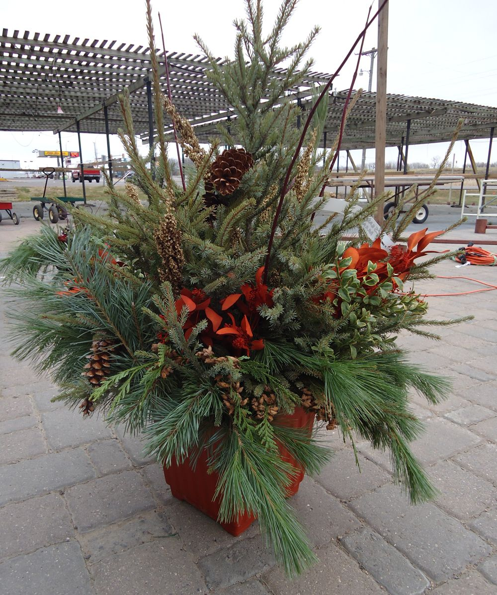 Planters our outdoor christmas planters disappear as for Yard planter ideas