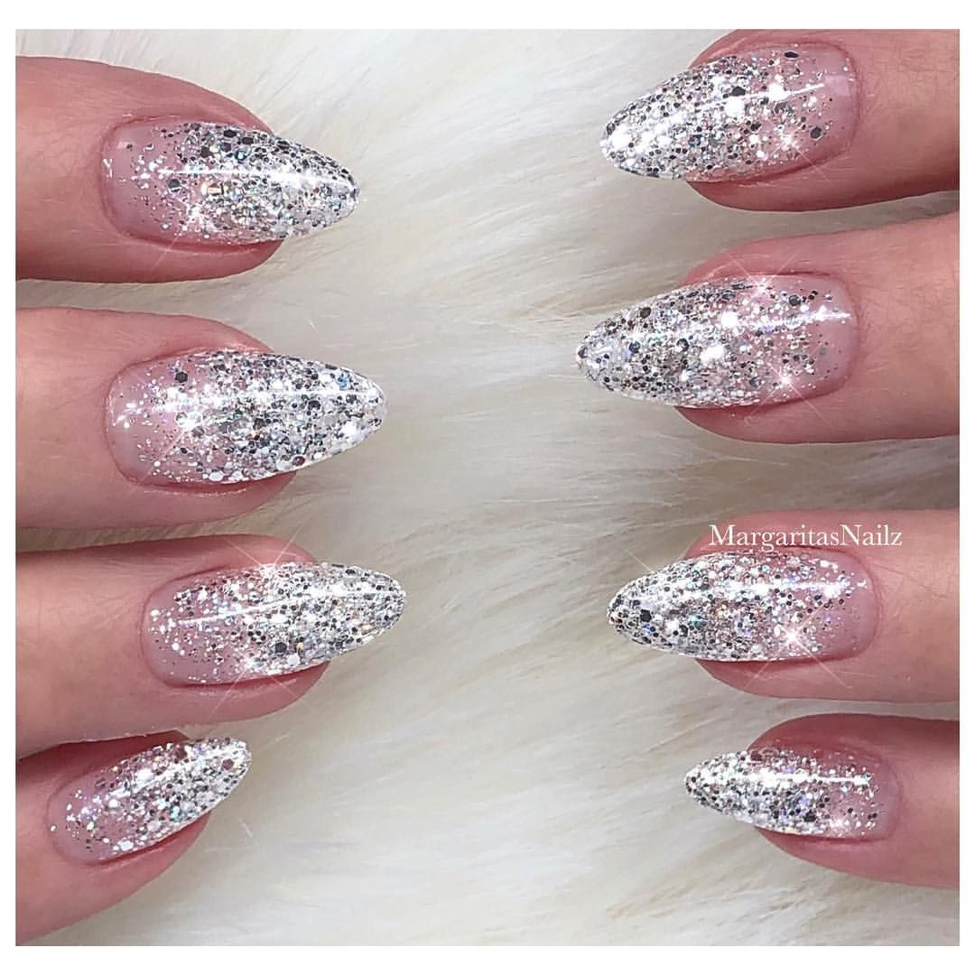 Silver glitter ombré Sparkly nail art design natural nail ...