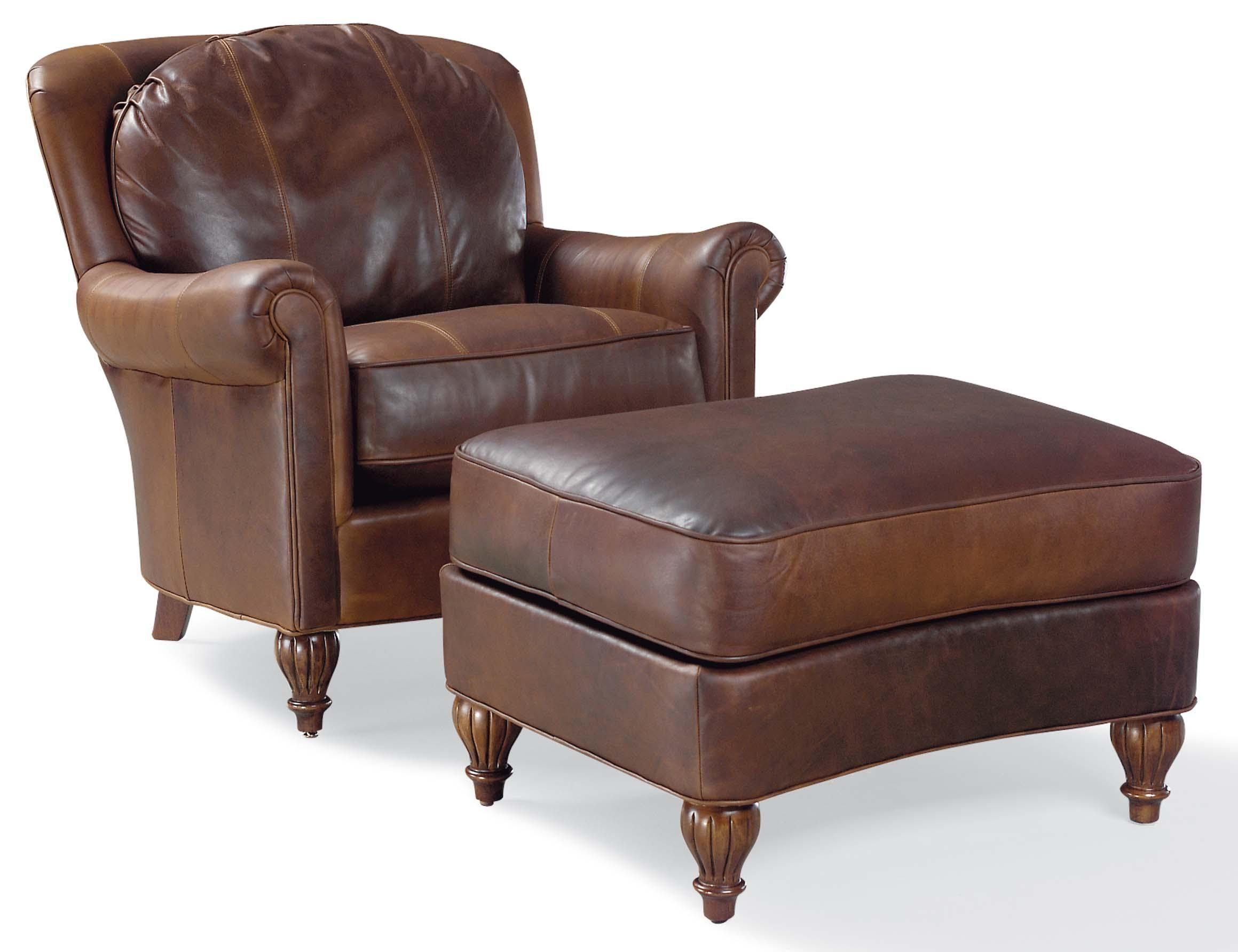 3724 traditional chair and ottoman with turned wood feet