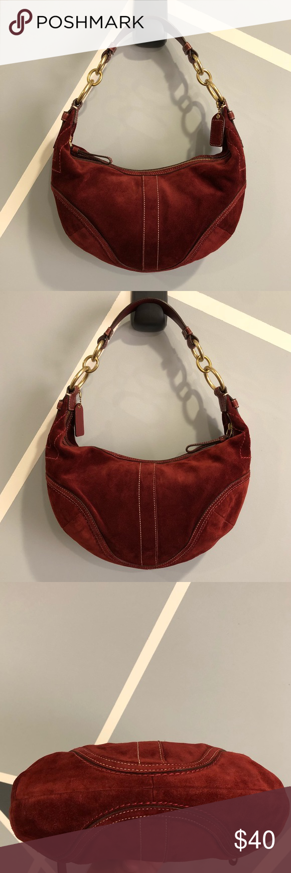 Coach Suede Leather Soho Hobo Bag Burgundy Red Coach Suede Leather Soho Hobo  Shoulder Bag in EXCELLENT condition! Please note-the The keychain tag no  longer ... b3ffe2b261