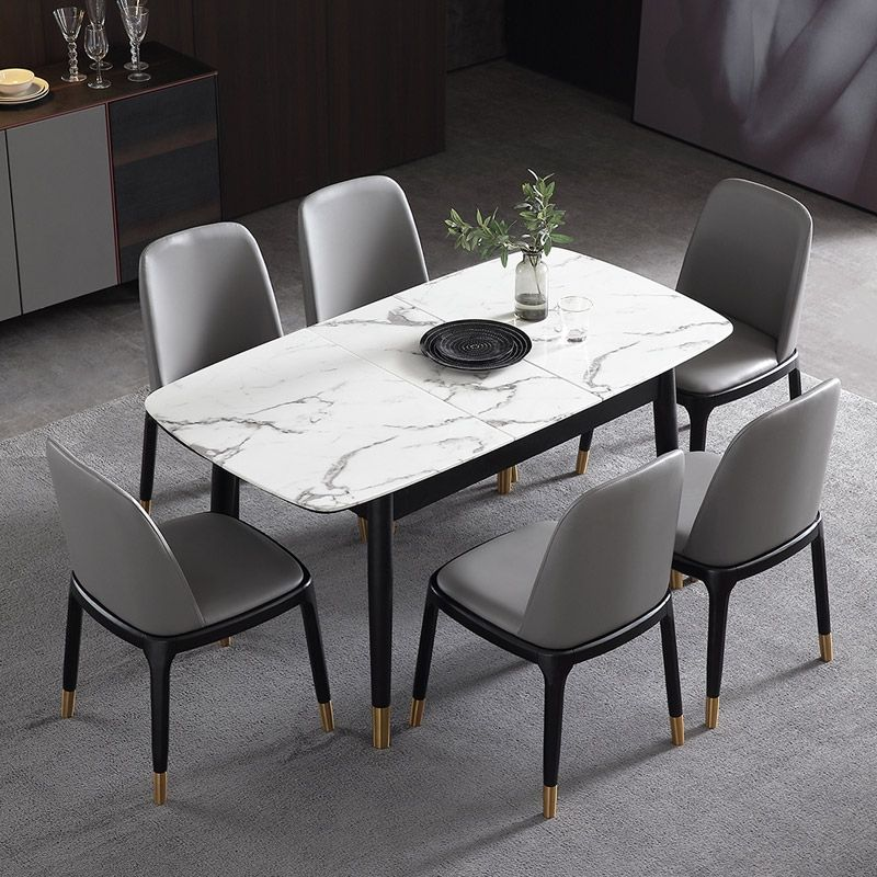 Rectangular Extendable Faux Marble Dining Table With Marble Veneer Top Modern Dining Table 55 Dining Table Marble Faux Marble Dining Table Modern Dining Table