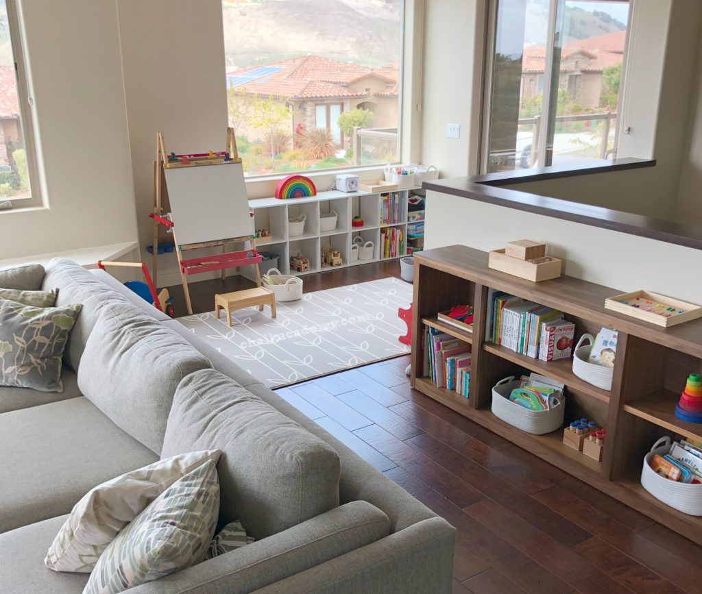 Homeschool Tour Mid Century Modern Meets Montessori Living Room Playroom Small Space Living Room Small Playroom #small #play #area #in #living #room