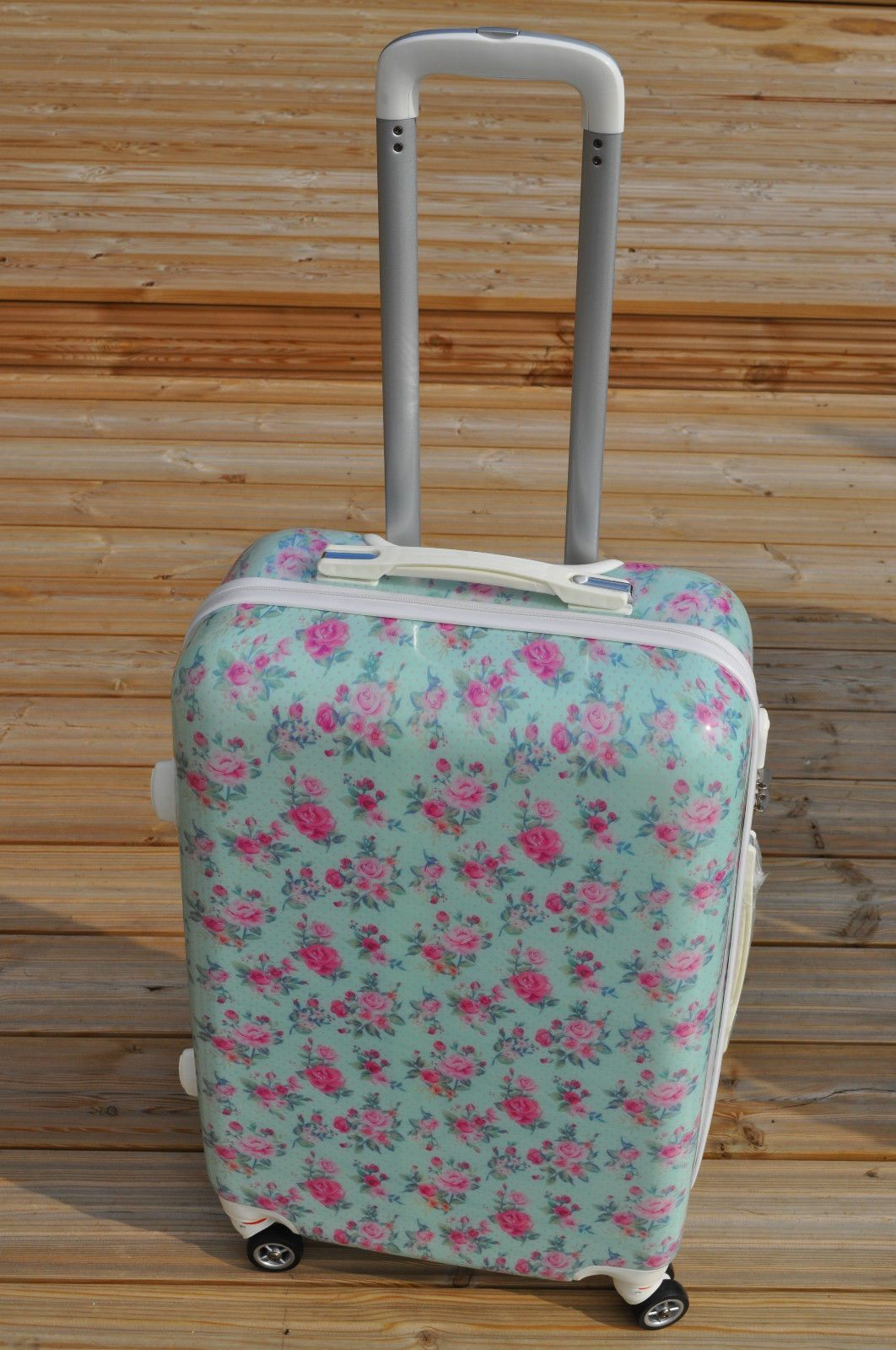 Vintage blue floral suitcase medium weekend bag luggage case 4 ...