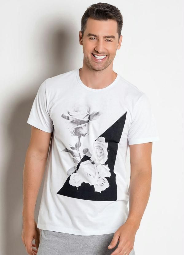 Camiseta Branca com Estampa Rosas em 2019 | Camiseta branca
