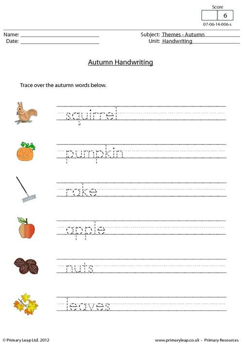 PrimaryLeap.co.uk - Autumn - Handwriting Worksheet | Holiday ...