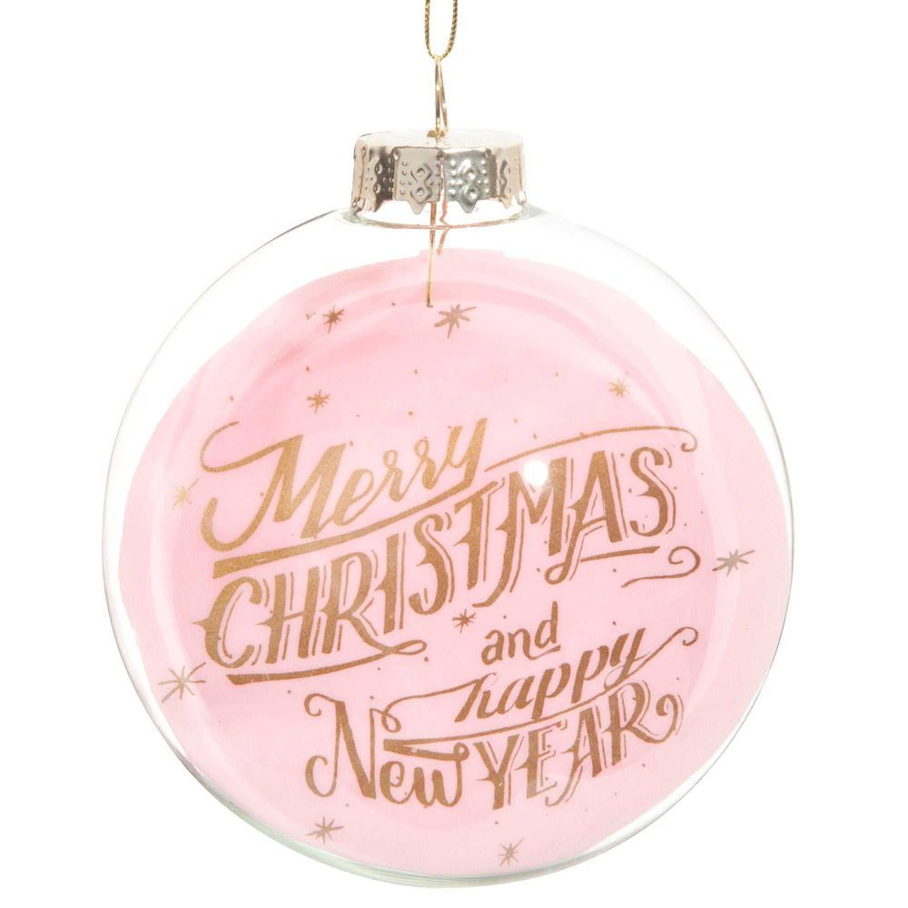 Boule De Noël Rose En Verre Cm PINK CHRISTMAS Christmas - Canapé convertible scandinave pour noël decoration murale