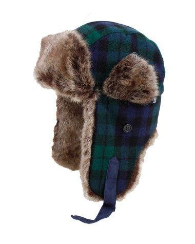 David   Young Faux Fur Trapper Hat  Blue Plaid  8f0ec1fdd7d