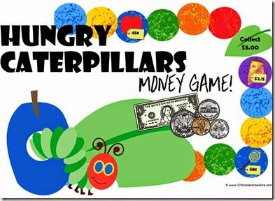 hungry caterpillars money game a free printable game for preschool kindergarten 1st grade