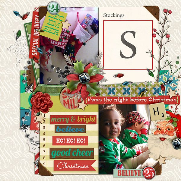 """""""t'was the night before christmas"""" Template: Year Of Templates Vol. 12 by Sahlin Studio Kit: Kitschy Christmas (kit, word blocks, journal cards) by Sahlin Studio Kit: Wood Veneer: Christmas by Sahlin Studio Kit: Daily Date Brads No. 1 by Sahlin Studio Kit: Daily Date Brads No. 2 by Sahlin Studio"""