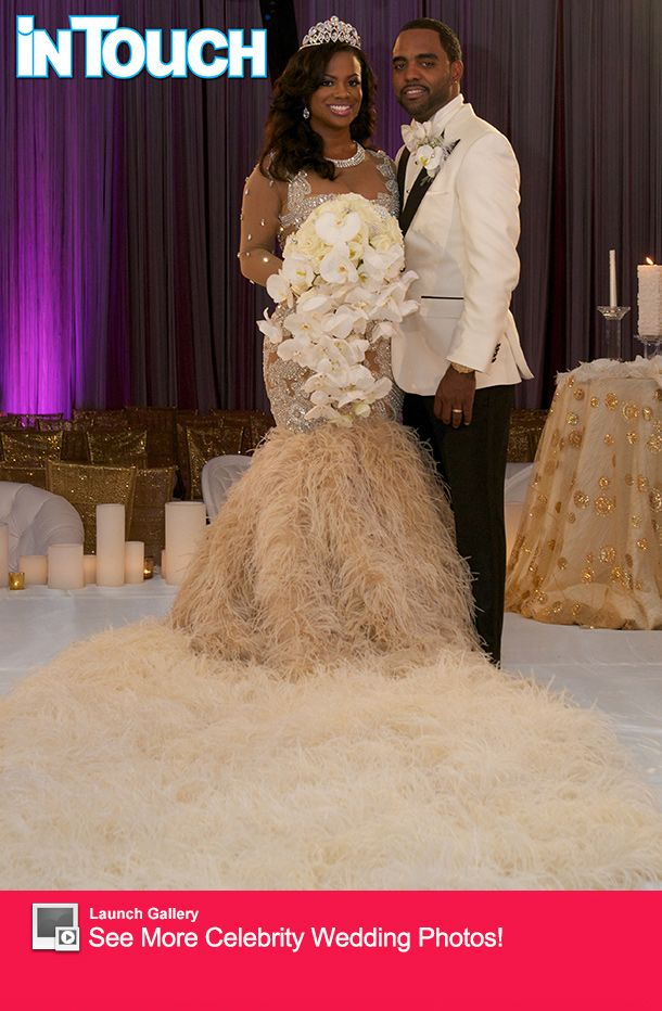 Kandi Burruss Reco Chapple Gown With12 Foot Ostrich Feather Train Bodice Covered In Sequins And Cutouts A Wedding Dress Reveal Wedding Gowns Wedding Dresses