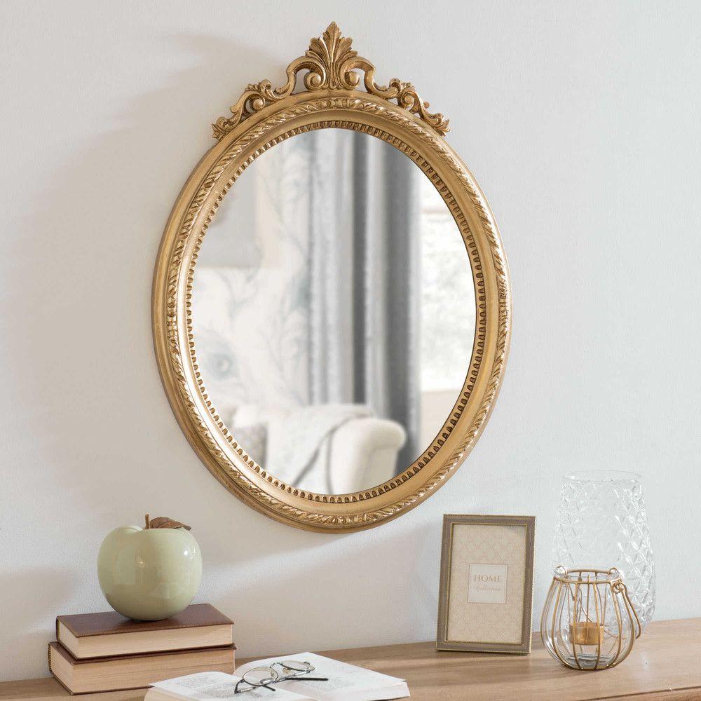 D coration miroir dor bureau chambre id es espejo ovalado espejos dorados y espejos - Deco chambre dore ...