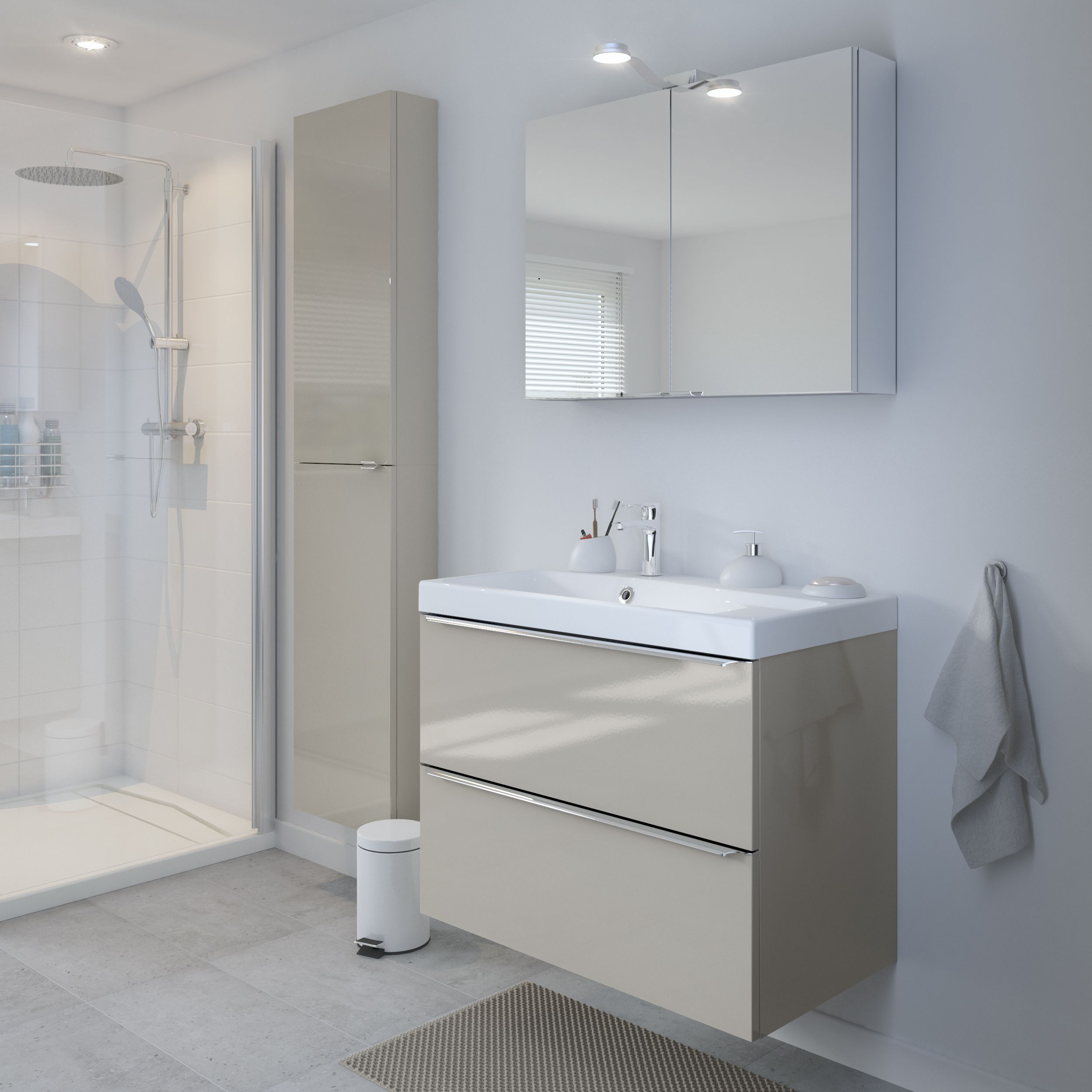 Storage Is Essential In Busy Bathrooms The Imandra Gloss Taupe