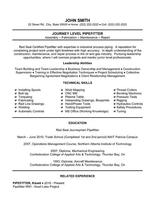 Gallery Of Pipefitter Resume Sample
