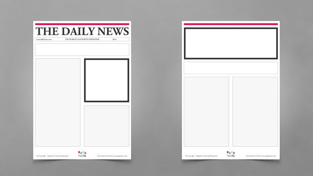 Blank Newspaper Templates Paperzip Teaching Resources Facs
