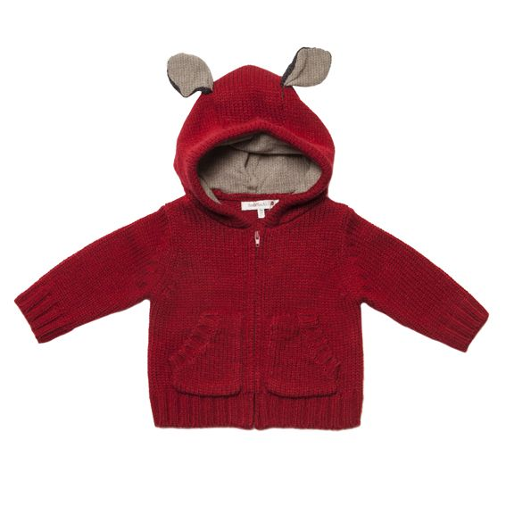 Designer baby boy clothing - Fox & Finch - Baby Petit Fox Ear Zip Cardigan Price: Was $59.95 Now $ 38.95  Divine red baby cardigan by Fox and Finch Baby!  Gorgeous knit cardigan features zip through front and contrast fox fur ears - guaranteed to delight!  Red baby jacket!  https://www.littlebooteek.com.au/product/fox-finch-baby-petit-fox-ear-zip-cardigan . Designer baby boy clothing - Fox & Finch