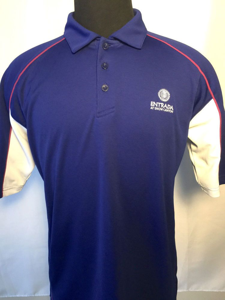 5a2dc5ee5e $7 UNDER ARMOUR GOLF MENS L ENTRADA LOGO HEAT GEAR LOOSE FIT BLUE PURPLE POLO  SHIRT #UnderArmour #PoloRugby