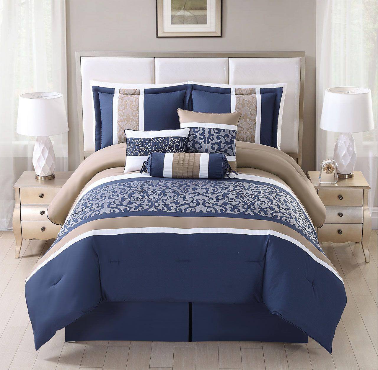 11 Piece Alondra Navy Taupe Bed In A Bag Set Comforter