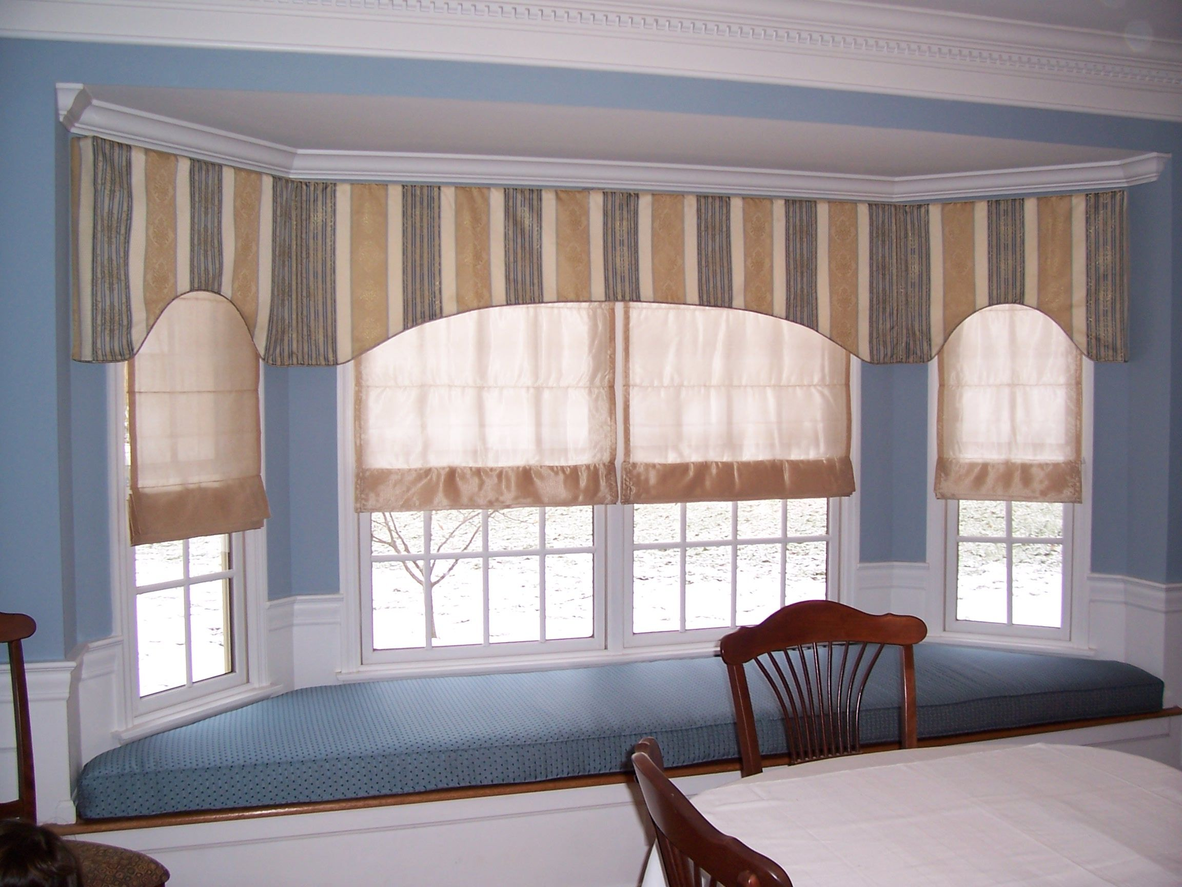 Continuous Flat Valance Along Large Bay Window, With Sheer Roman Shades  Underneath. Coordinating Fabric