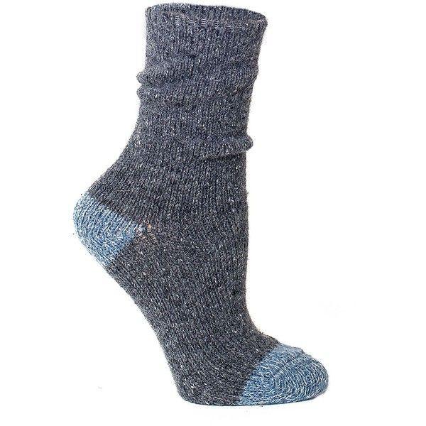 Lemon Twisted Heel and Toe Tweed Crew Socks (17 AUD) ❤ liked on Polyvore featuring intimates, hosiery, socks and flannel