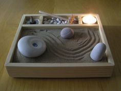Simple, Homemade Zen Garden.  All supplies can be found at a local craft store.