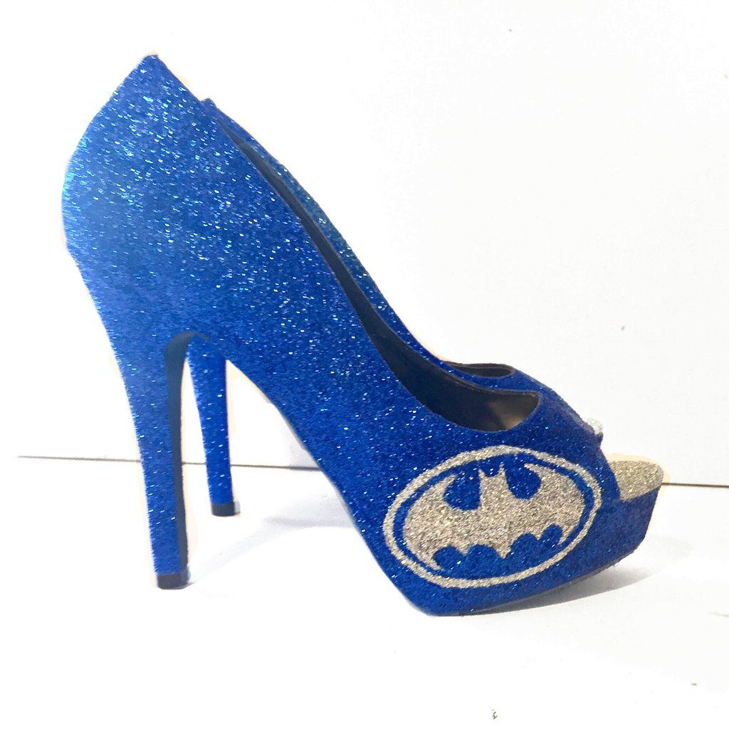 SuperHero Royal Blue Silver Glitter Heels shoes Batman Take $15 ...