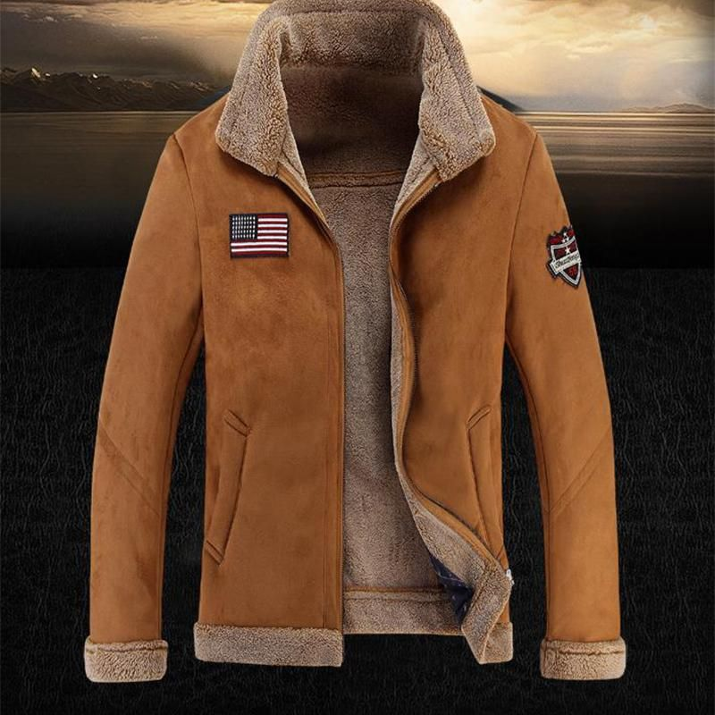 Mens Fashion Solid Stand Collar Warm Coat Mens