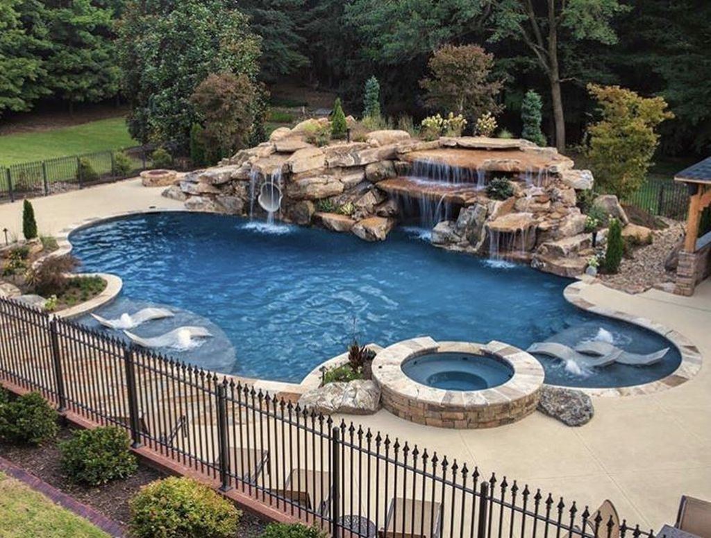 20 Awesome Backyard Patio Ideas With Beautiful Pool Luxury Pools Backyard Luxury Pools Mansions Backyard Pool Landscaping