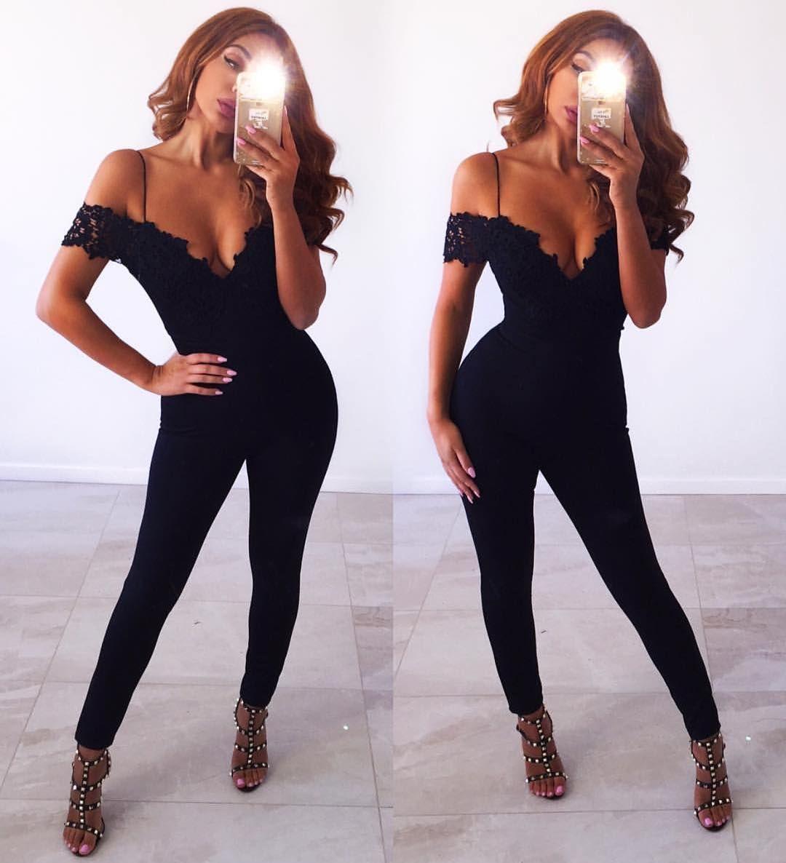 Marianneknerr Looks Insane In Our Lianna Black Lace Jumpsuit  # Pose Tele En Boi