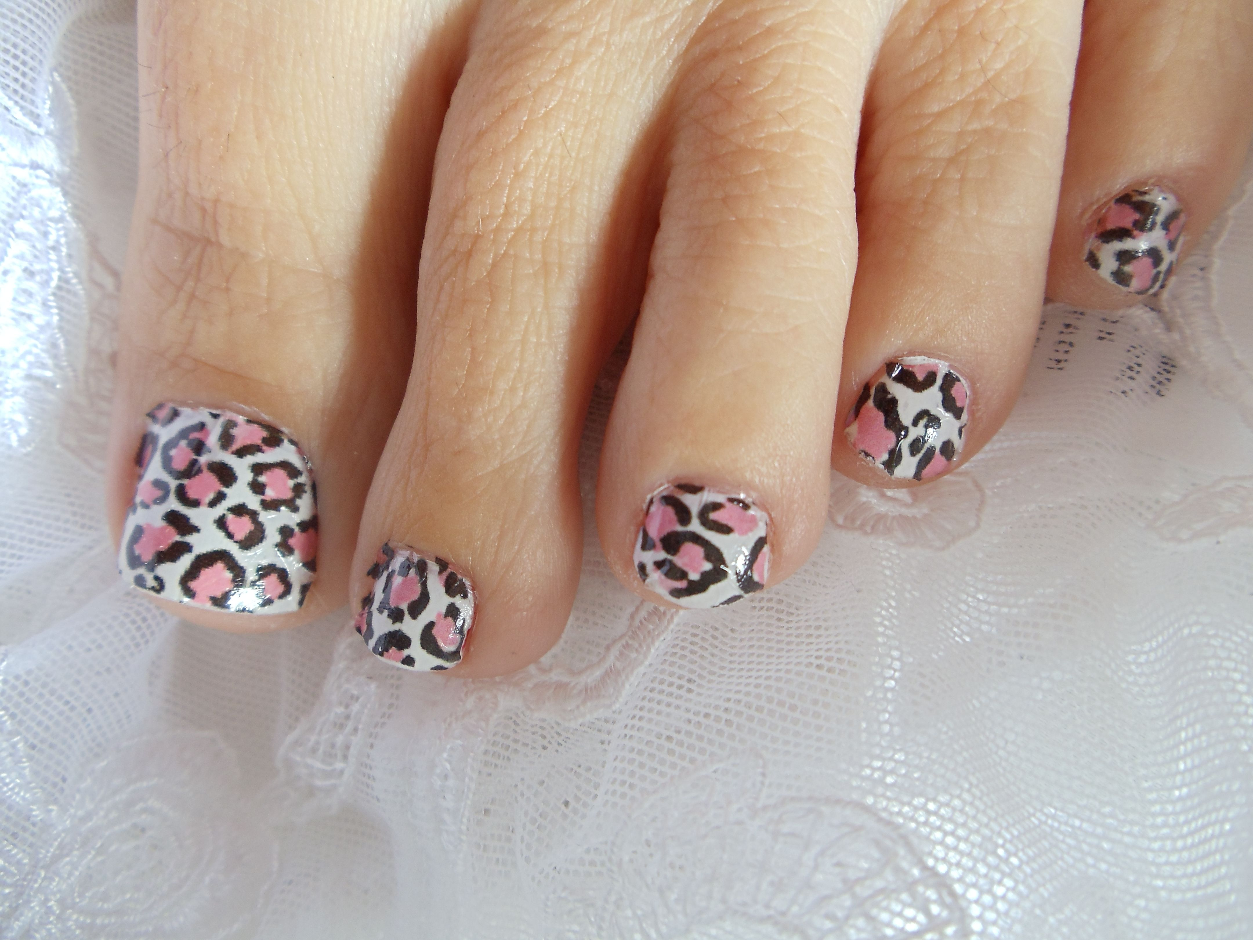 Pink White Leopard Print Water Transfers Wraps Leopard Print Nails Toe Nail Designs Fingernail Designs