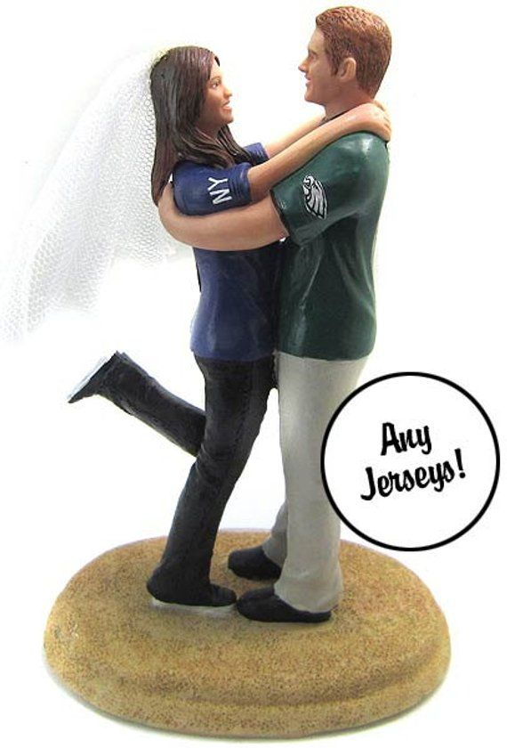 Embracing In Sports Jerseys Wedding Cake Topper