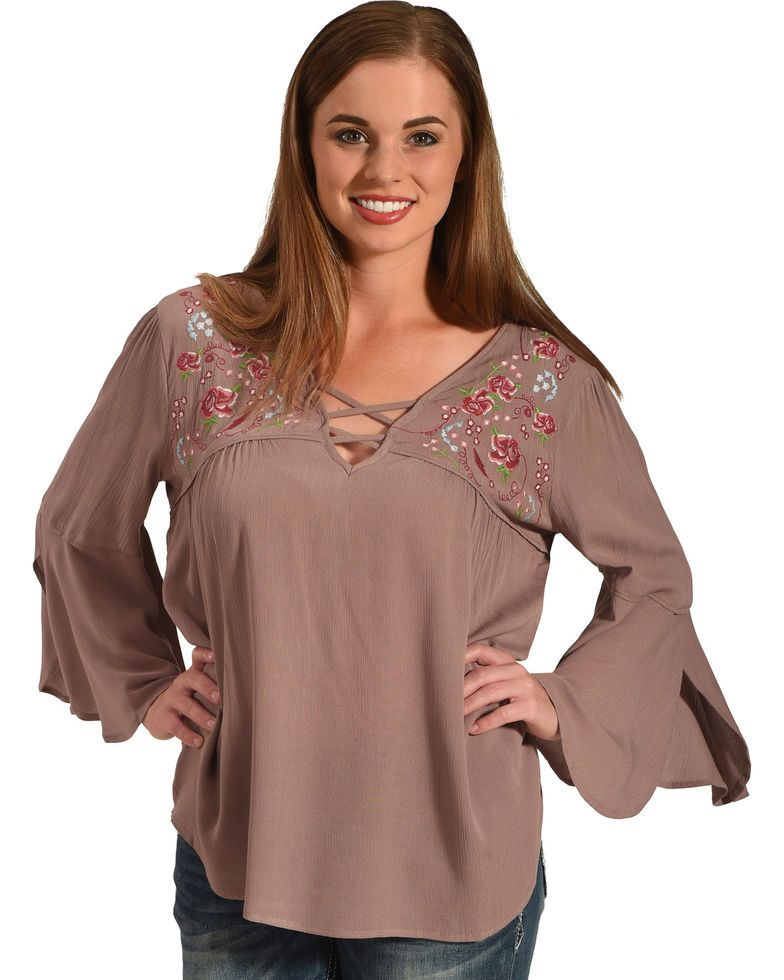 2bf6c872bf0d00 Miss Me Women's Dusty Pink 3/4 Sleeve Embroidered Top , Pink | dREAM ...