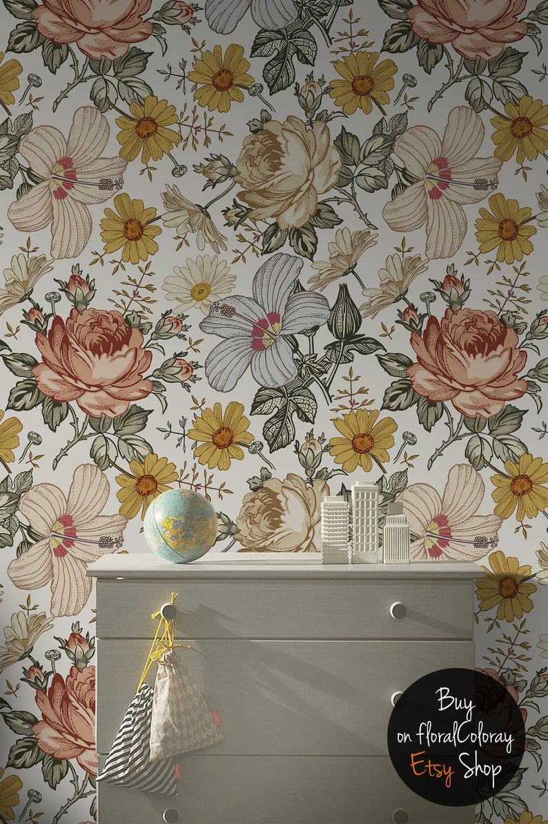 Farm Flowers Removable Wallpaper Sunny Floral Wall Mural Self Adhesive Vivid Wall Decor Colorful Flowers Wallpaper Peel And Stick 201 In 2021 Removable Wallpaper Floral Wallpaper Bedroom Wall Murals
