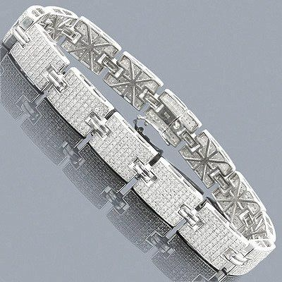 Sterling Silver Bracelets Mens Diamond Bracelet 3 5 ct