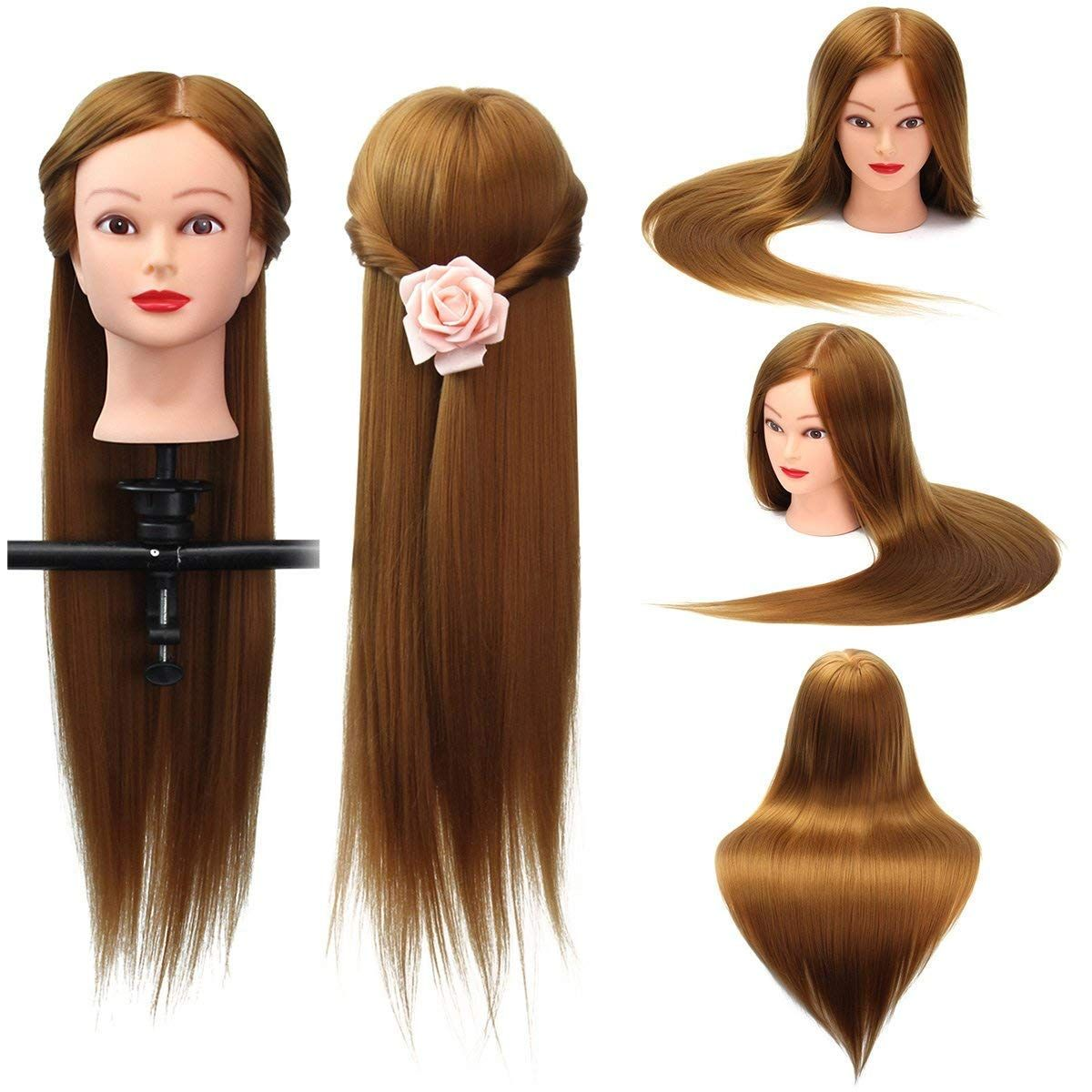 26 Light Brown 30 Human Hair Training Mannequin Head Model Hairdressing Makeup Practice With Clamp Hair Styling Tools Salon From Health Beauty On Banggood Hair Mannequin Human Hair Light