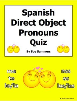 Spanish Direct Object Pronouns Quiz or Worksheet with Answer Key ...