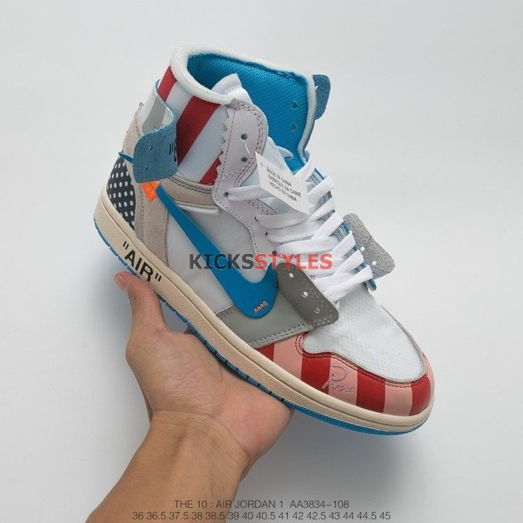 fa0c8afb2f3e Off-White x Air Jordan 1 UNC Parra Custom