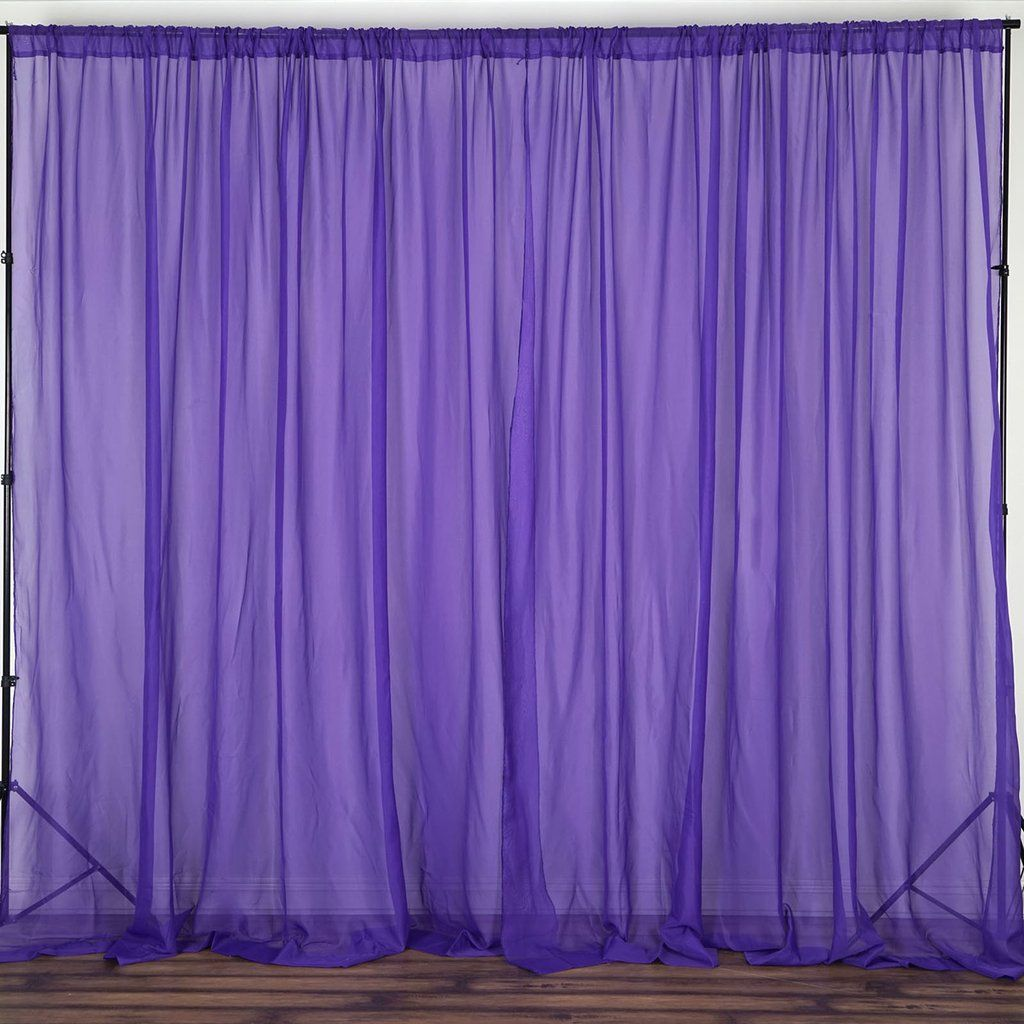 2 Pack 5ftx10ft Purple Fire Retardant Sheer Organza Premium Curtain Panel Backdrops With Rod Pockets With Images Purple Sheer Curtains Panel Curtains Event Backdrop