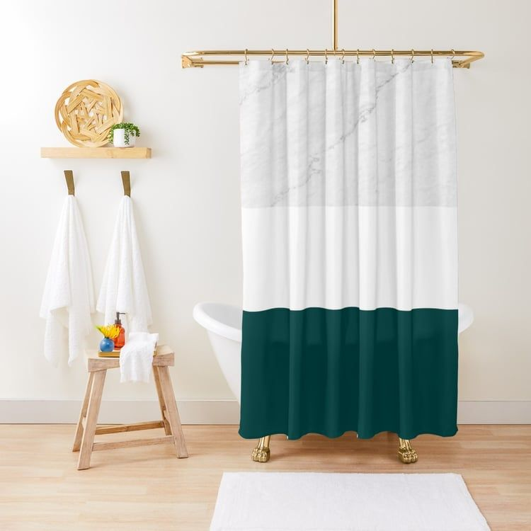Marble Teal White Color Block Modern Geometry Shower Curtain By
