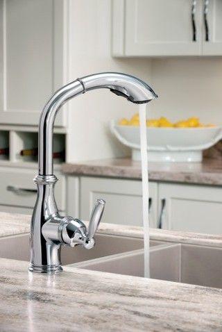 chrome kitchen faucet. alternate image. little space black kitchen