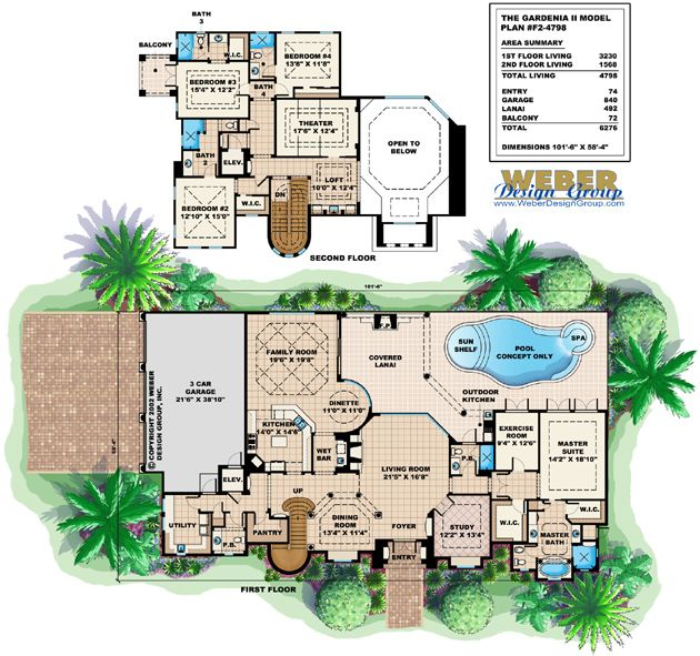 mediterranean house plan: 2 story waterfront golf course home plan