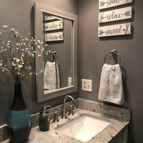 Bathroom Wall Decor Relax Soak Unwind Farmhouse Bathroom ...
